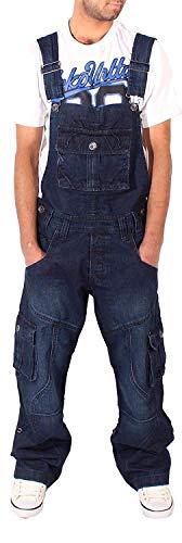 Peviani Uomo Blu Scuro Jeans Stile Militare vestibilità Larga Porto Salopette - Scuro Bagnato Wash Blu, L=W38-W40-UK18 - R-33 / Euro 50-52