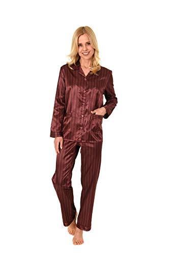 NORMANN WÄSCHEFABRIK Damen Satin Pyjama Schlafanzug in Edler Optik zum durchknöpfen - 191 201 94 002, Farbe:Bordeaux, Größe2:40/42