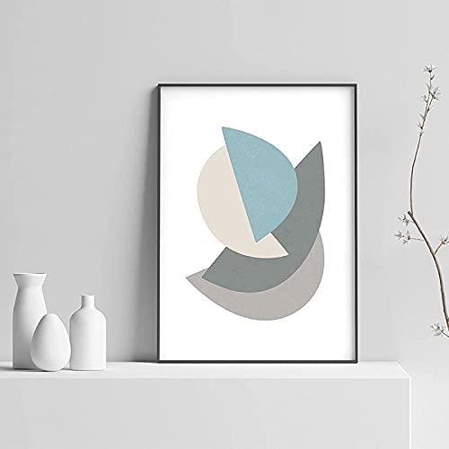 YHJK Pintura de Arte Moderno Mosaico póster e impresión Arte Paisaje Retro Estilo nórdico Pintura geométrica decoración de la Sala de Estar 40x60 cm sin Marco