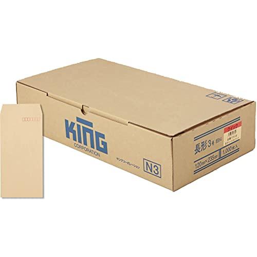 キングコーポレーション クラフト封筒 長形3号 85g 1000枚入 テープ付 075102