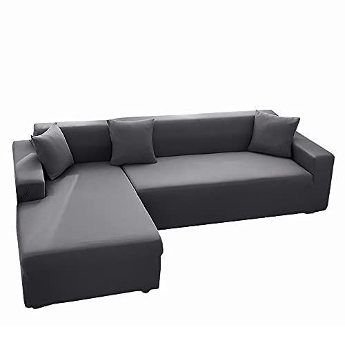 Sofabezug, Elastische Stretch Sofabezüge für L-Form Sofa Abdeckung mit 2 Stücke Kissenbezug(3 Sitzer+3 Sitzer, Grau) , Sofa überzug L Form elastisch, Sofa Überzug, Ecksofabezug