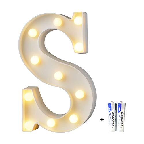 bemece LED Buchstabe Lichter Alphabet, LED Brief Licht, Led dekoration für Geburtstag Party Hochzeit & Urlaub Haus Bar - Buchstabe S
