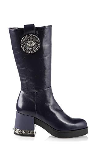 Marino Fabiani 6664 Purple Calfskin Midcalf Boots Italian Designer 4