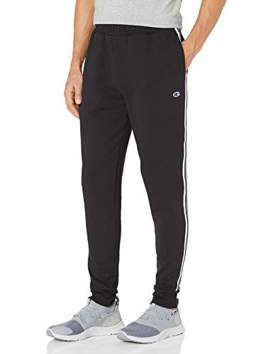 Champion Men's Powerblend Fleece Joggers with Taping, Black, X- Large