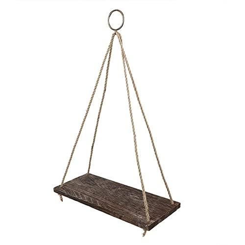 litulituhallo Estantería flotante de 30 x 13,8 x 5,5 pulgadas con cuerda de madera para colgar, libro marrón
