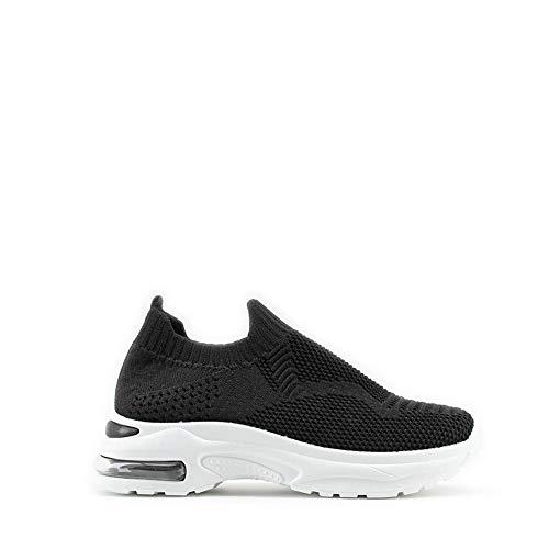 Modelisa - Zapatillas Deportivas Correr Gimnasio Casual Zapatos para Deporte Sin Cordones Mujer (Negro/4, Numeric_40)