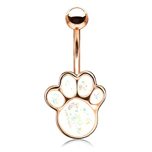 Pierced Owl Synthetic Opal Glitter Puppy Paw Belly Button Navel Ring (Rose Gold Tone/White)