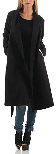malito Donna lungo Cappotti Cascata-Design Cardigan Basic 3050 (nero)