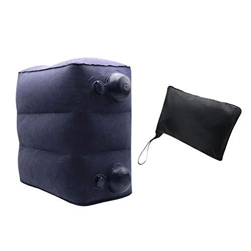 Amusingtao Inflatable Travel Foot Rest Pillow,Adjustable Height Leg Pillow,Airplane Cushion Inflatable Travel Pillow for Leg Foot Rest,for Kids/Adults Sleeping,Travel,Camping,Long Flights,Blue