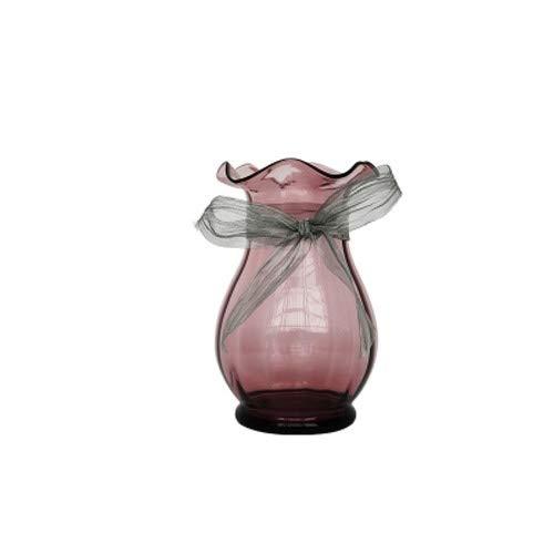 Qeepenl Transparente Simple de Lujo de Cristal pequeño jarrón de luz de Estilo Europeo Acuerdo de Adornos de la Sala de Flores secas Flores hidropónica la decoración del hogar pequeño Vaso