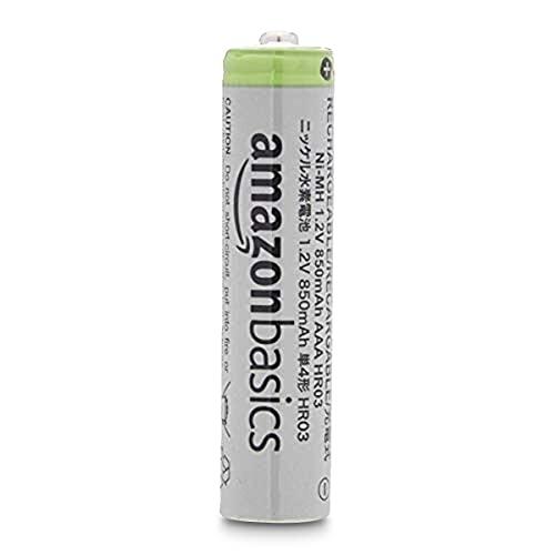 Amazon Basics AAA-Batterien mit hoher Kapazität, wiederaufladbar, 850 mAh, 24 Stück, vorgeladen