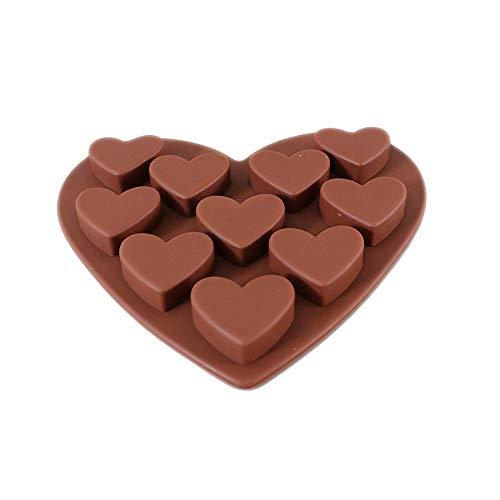 DAKERTA Muffinblech aus Silikon, Silikon Backform, Muffinform für Muffins, antihaftbeschichtet, Cupcakes, Kuchen, Pudding, Eiswürfel - 10 kleine Liebesschokoladen