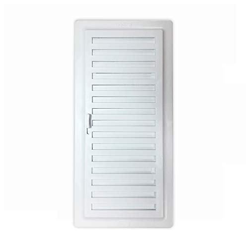 ALBERTO MUÑOZ Rejilla ventilación baño PVC 9.8x22.5 cm con Marco y Cierre