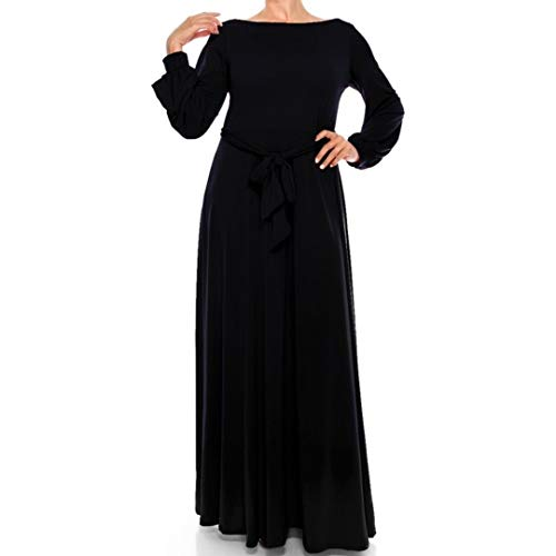 Janette Fashion Black Bell Long Sleeve Maxi Dress