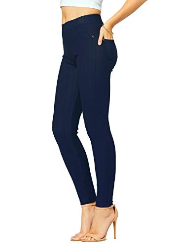 Premium Stretch Soft High Waisted Jeggings for Women - Denim Leggings - Cotton Stretch Blend - Full Length Indigo Blue - 18-24