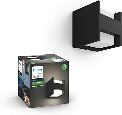Philips Hue Fuzo Aplique exterior negro LED inteligente, luz blanca cálida regulable, compatible con Amazon Alexa, Apple HomeKit y Google Assistant ✅