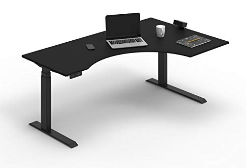 of l shaped sit stand desks Stand Up Desk Store Electric Adjustable Height Curved Corner L-Shaped Standing Desk with Programmable Memory (Black, Right-Return, 71