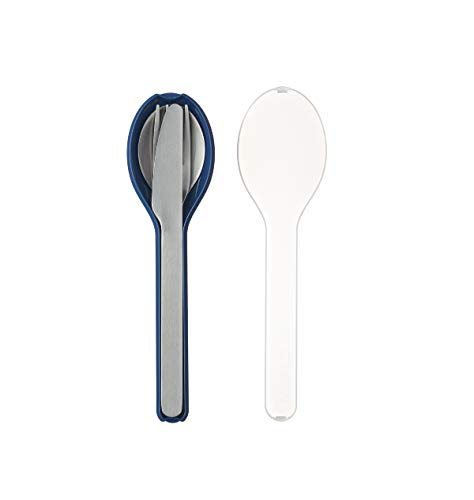 Mepal to Go Set Ellipse 3-teilig Nordic Denim – Besteck für unterwegs. Bestehend aus Messer, Gabel und Löffel, in Blaue Kunststoffhülle, Edelstahl, 19.5 x 5.1 x 2.3 cm