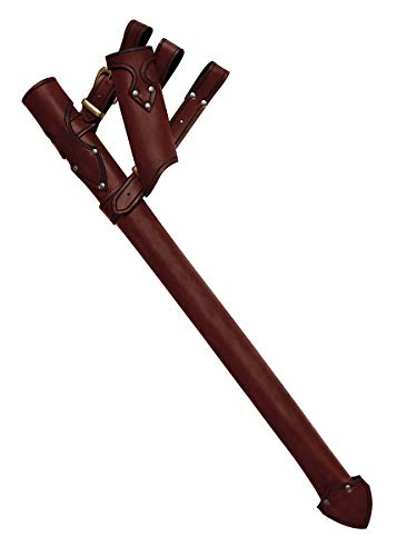 Andracor - Mittelalterliches Schwertgehänge - Ritterliche Leder-Schwertscheide mit Waffenhalter für Rechts- und Linkshänder - LARP Mittelalter Wikinger & Cosplay - Braun - Variante: Links