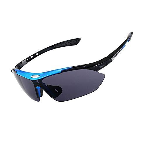 CVMW Gafas de sol para deportes al aire libre, gafas de sol, gafas de montar para hombres y mujeres gradualmente marco azul negro gris chip