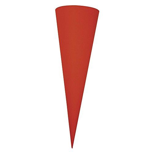 Rayher 7133918 Schultüte, aus Pappe zum Basteln und Selbstgestalten, Rohling ohne Verschluss für Zuckertüte und Geschwisterschultüte, rund, rot, 35 cm