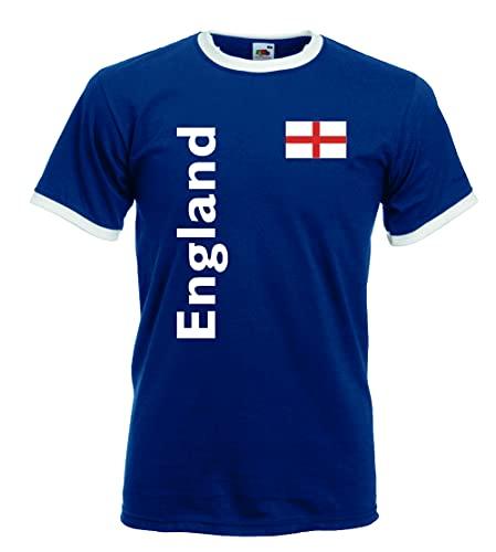 Fruit of The Loom England/Great Britain Herren T-Shirt Retro Trikot|royal L