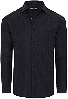Tarocash Men's Montana Jacquard Shirt Regular Fit Long Sleeve Sizes XS-5XL for Going Out Smart Occasionwear