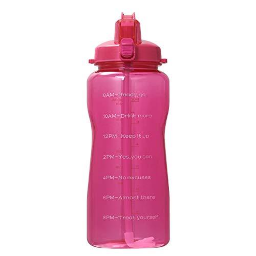 Bottiglia d'acqua da 2 l con cannuccia di silicone, borraccia sportiva con indicatore di tempo, BPA gratis
