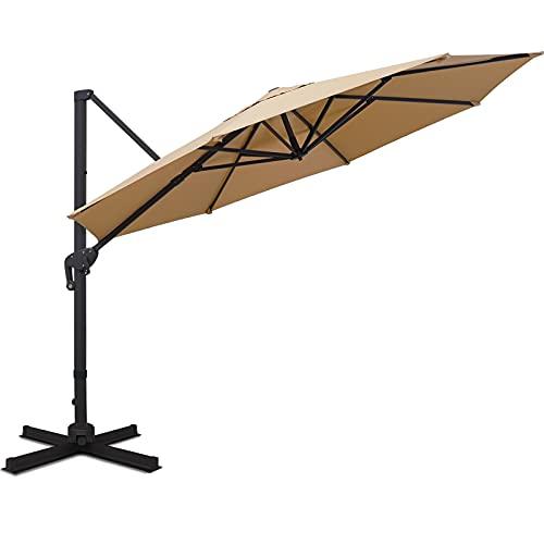 Sunnyglade 11FT Cantilever Patio Umbrella Round Deluxe...