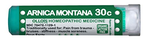 Ollois Lactose-Free, Organic, Homeopathic Medicines, Arnica montana 30C Pellets, 80 Count, For Pain Relief