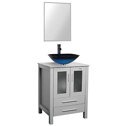 24 Grey Bathroom Vanity,Tempered Glass Vessel Sink Combo,Style Sink,1.5 GPM Faucet Oil Rubbed Bronze,Bathroom Vanity Top with Sink Bowl,20 inch Deep, 30% Water Saving Faucet/U-Eway (B02GA04)