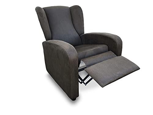 Sillón butaca reclinable tapizado Antimanchas. Sillón con Respaldo reclinable y reposa pies (Marrón Chocolate) 🔥