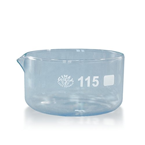 1 x Kristallisierschale 500 ml aus Borosilikatglas 3.3 mit Ausguss DIN 12338 - Höhe 65 mm - Ø 115 mm - Abdampfschale