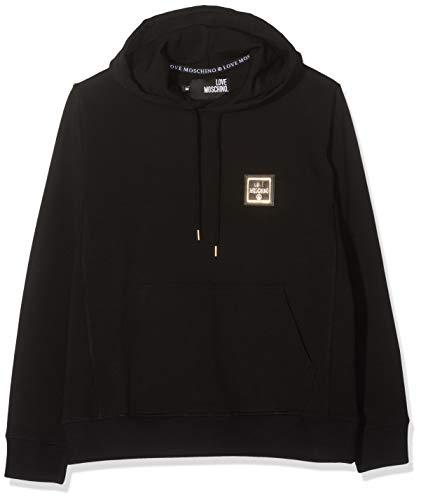 Love Moschino Herren Logo Badge Long Sleeve Hooded Sweater Sweatshirt, Schwarz (Black C74), Small (Herstellergröße: S)