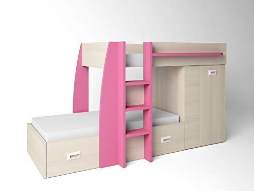 ambiato Design Hochbett Natur + Pink 2 Schlafplätze viel Stauraum Etagenbett Stockbett für 2 Doppelbett Kinder