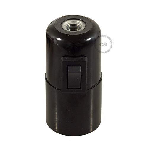 creative cables Kit portalámparas de baquelita E27 con Interruptor - Negro