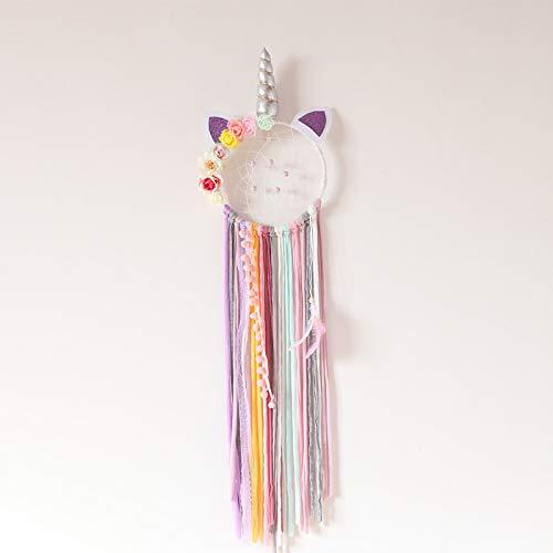 Poitemsis - Atrapasueños de Unicornio con borlas moradas y Cuerno de Plata, diseño Floral, para niñas y bebés, decoración de Dormitorio