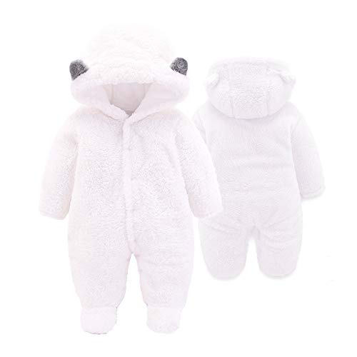 XMWEALTHY Baby Cloth Winter Coats Unisex Newborn Cute Jumpsuit Romper Coats Outfits White S