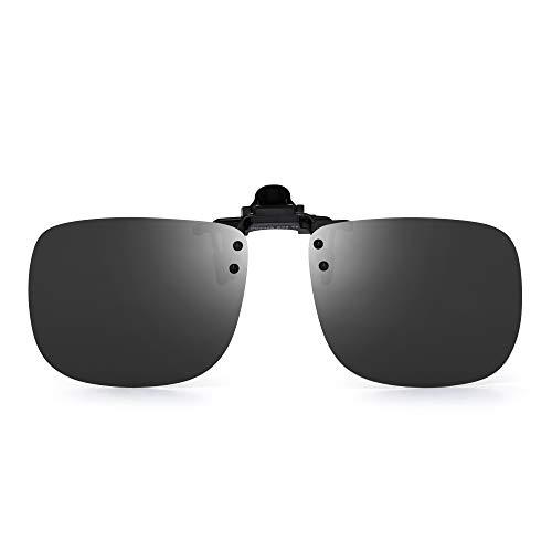 JM Polarizadas Clip en Gafas de Sol Sin Marco Flip up Lente Para Gafas Graduadas Gris