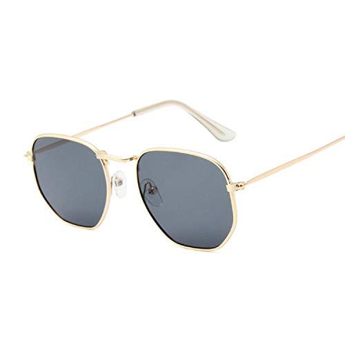 Hombres Retro Gafas De Sol Lente Negra Golden Farme Gafas De Sol De Moda Gafas De Sol Hexagonales Hombres Marca Clásica Lente Plana Gafas De Sol Transparentes Hombre Mujer Retro Pequeño Ma