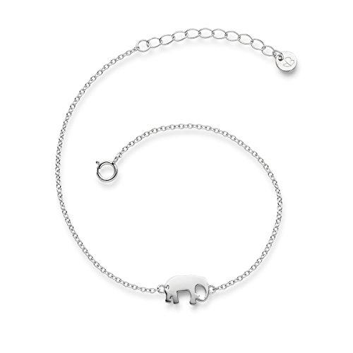 Glanzstücke München Damen-Armband Elefant Sterling Silber 17 + 3 cm - Silberkettchen Armband mit Anhänger Armkettchen Silber