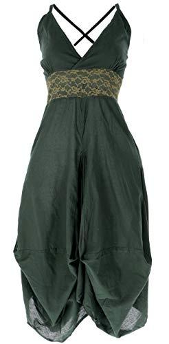 Guru-Shop Langes Sommerkleid Hippie Chic, Damen, Olive/helle Spitze, Baumwolle, Size:M/L (40), Lange & Midi-Kleider Alternative Bekleidung