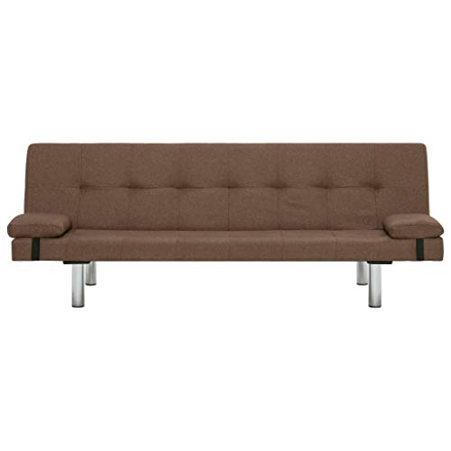 Lechnical Sofá Cama marrón Revestido de poliéster, sofá Cama Familiar Estilo Moderno 168 x 77 x 66 cm (Largo x Ancho x Alto) -3 ángulos Ajustables Trae 2 Almohadas