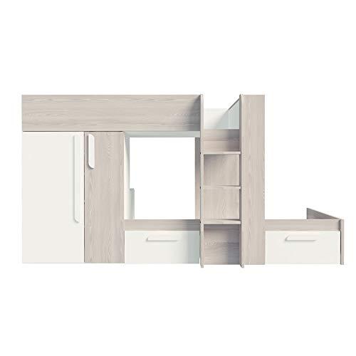 Selsey Eritrea - Kinderbett/Etagenbett mit Kleiderschrank, Regal, 2 Schubladen, Liegefläche 90 x 190 cm (Mit 2 Matratzen)