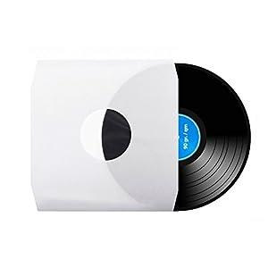 100 Stück | 12″ | Schallplatten | LP | Vinyl | Hüllen (Innenhüllen) | Eckschnitt | gefüttert | antistatisch | weiß | 90 gr./m² | xi-media®
