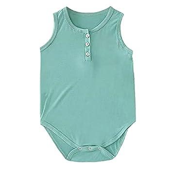 Baby Green Unisex Tank Onesies Infant Super Soft Modal Shirt Bamboo Royan Cotton Onepiece Sleeveless Bodysuit,6-12 Months