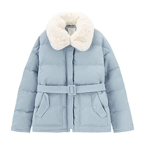 Zlbyb Winter White Duck Down Thermal Peluche Cintura Fit Slim Down Abrigo corto Chaqueta abajo (Color : Blue, Size : M code)