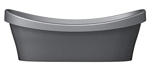 Scheurich Wave Garden Jardiniere, runde Pflanzschale aus Kunststoff, Metallic Grey, 50 cm lang, 19 cm breit, 17,5 cm hoch, 6 l Vol.