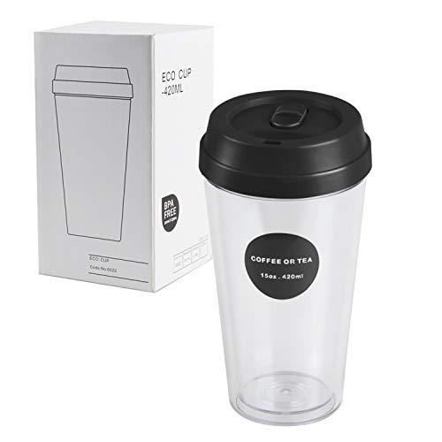 Kaffeebecher to go 420ml, Kaffeetasse Transparent, Coffee to go Becher, Kaffeebecher Plastikbecher Mehrweg, Kaffeetasse groß Doppelwandige Tasse, Reisebecher für Kaffee, Wasser trinken und Cocktails