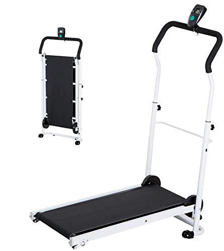 Cinta de correr plegable para el hogar, manual plegable LCD inclinable entrenamiento de la gimnasia de los aeróbicos del hogar caminadora pequeña pérdida de peso Mini cubierta equipo de la aptitud